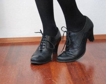 Vintage 90s Black Leather Lace Up Oxfords Pumps Heels - Size 7.5