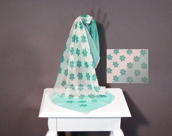 Vintage Scarf Turquoise Chiffon Mod Daisy Wispy Sheer Japan Hand Rolled Square 60s