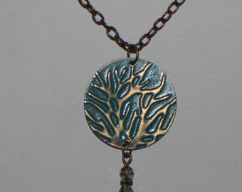 Brass Patina Tree of Life Pendant Necklace, Brass Chain, Boho, Vintaj, Crystals