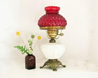 Milk Glass Hurricane Lamp Red Fenton Shade