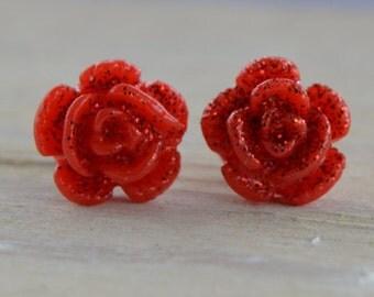 Glittery Red Rose Earrings - Small Rose Red Flower Resin Resin Red Rose Post Earrings Stud Earrings Sparkly Glitter Earrings
