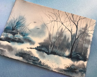 Arctic Blastic an Original Watercolor Painting 5x7 inch
