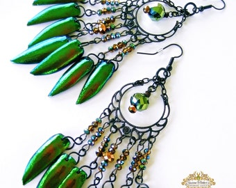 Jewel Beetle Elytra Wings Dangle Earrings Copper Gold Green Chandelier Pagan Priestess Boho Gypsy Gothic FAERIE QUEENE by Spinning Castle