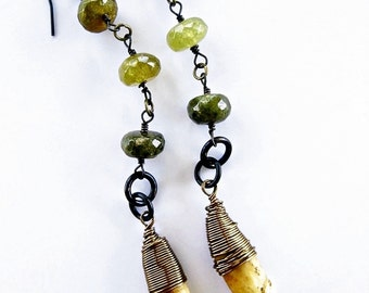 Coyote Teeth Earrings Shaman Totem Dangles Green Garnet Bead Boho Gypsy Tribal African Recycled Glass Pagan COYOTE WISDOM by Spinning Castle