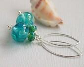 Sea Blue Green Lampwork Earrings, Blue Green Turquoise Beaded Earrings, Sterling Silver Earrings - MERMAID