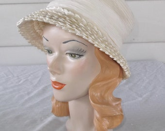 1960s Vintage White and Off White Pleated Chiffon and Cellophane Straw Hat