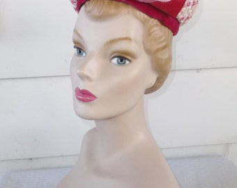 CLEARANCE 1960s Vintage Fuchsia and Pink Pillbox Hat with Rose by Jean Sutton