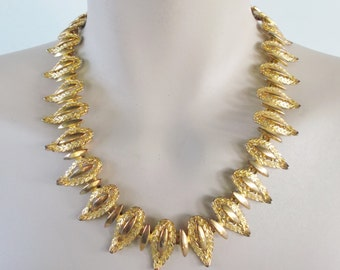 40s 50s Vintage Gold Tone Abstract Necklace with Original Box