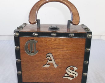 1960s Vintage Wooden Box Purse with Initials C.A.S.