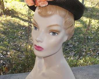 40s 50s Vintage Brown Straw Hat with Peach Color Flowers by Fisk Chicago