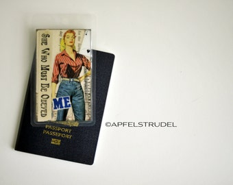 Luggage Tag Handmade from Vintage Maps, Athlete, Mother, Unique Recycled Gift, She Who Must Be Obeyed.
