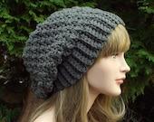 Slate Gray Slouchy Beanie, Womens Crochet Hat, Oversized Slouch Beanie, Chunky Hat, Slouchy Hat, Winter Hat, Slouch Hat