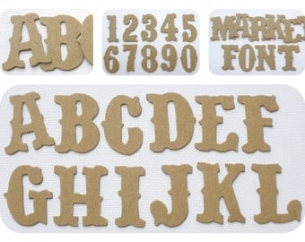 "1 1/4"" Vintage Chipboard Letters  - 72 Pieces Alphabet Letter & Numbers -  Bare Chipboard Die Cuts"