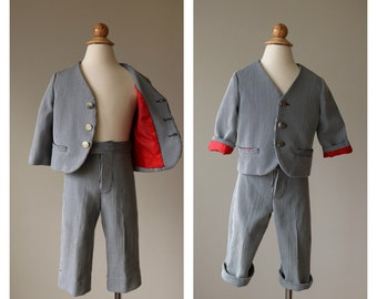 1960s Nautical Striped Suit~Size 2t/3t