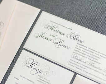 Blush Pink Wedding Invitation, Silver Invite, Formal Invitation Suite, Vintage Wedding Invitation - Marian and James