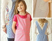 Crossback Reversible Apron PDF sewing epattern - simple to make reversible apron; includes 3 adult & 3 child sizes with pocket; no neck ties