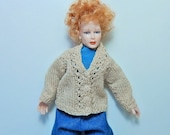 Dollhouse Miniature Knit Cable Cardigan Reserved for toenniessen00