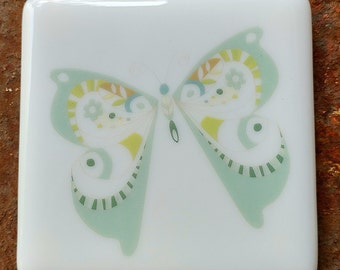 Coaster - Fused glass - Butterfly - mint green and yellow