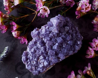 Fluorite Crystal - Lavender Fluorite Cluster - Natural Pastel Purple Fluorite - Purple Fluorite Cluster El Hammam Morocco - Raw Fluorite