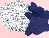 70th Birthday Party Confetti 3/4 Inch Circles - Eat Drink and be 70, Navy and White or Your Colors