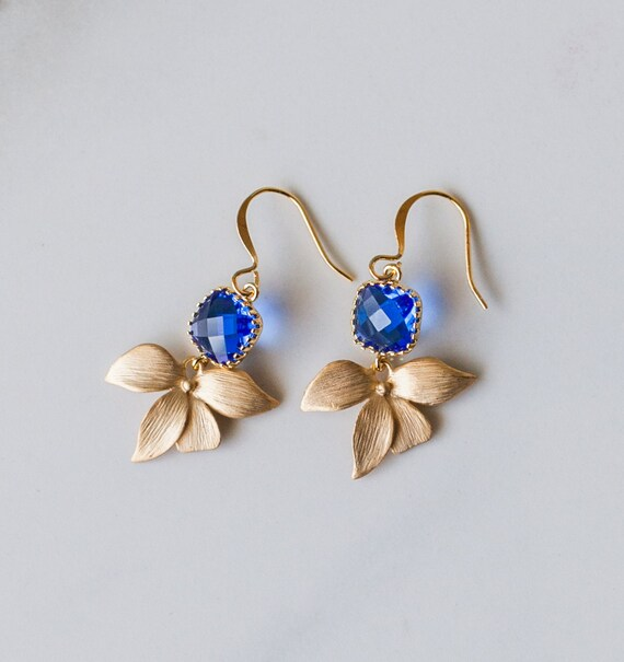 Orchid earrings, Blue glass, gold, bridesmaid gift, dangle, bridal, gifts for her, flower, hawaii, ocean, handmade in Santa Cruz