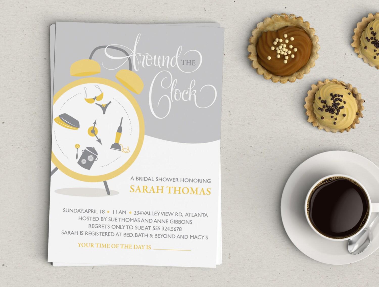 Around the Clock Bridal Shower Invitation – Around the Clock Wedding Shower Invitations