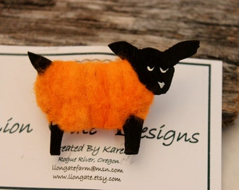 Sheep, Orange Needle Felted Sheep Pin, Wearable Lammies in Jammies, Felted Sheep Brooch, # 1737
