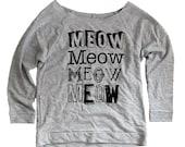 MEOW Cat Sweater - Long Sleeve Scoop Neck  - Ladies Sizes S, M, L, XL