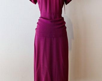 Vintage 1940s Violet Crepe Cocktail Dress With Beaded Neckline ~ Vintage 40s Purple Rayon Beaded Cocktail Dress