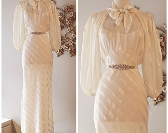 Vintage 1930s Wedding Dress ~ Vintage 30s Wedding Gown With Matching Bolero Jacket