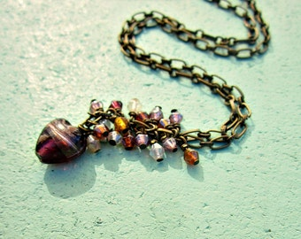 Adjustable Rustic Brass Chain Y Necklace with Purple Heart and Beaded Cluster: Olivia