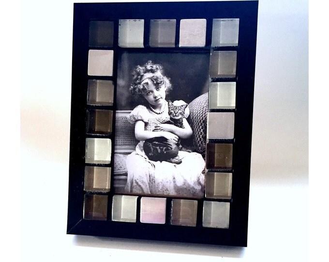 Mosaic Frame, Black Glass BlockFrame, 4x6 Glass Tile Frame, Handmade Frame, Black Grey Stainless Tile Frame, Frame for a Man, Handsome Frame