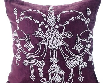Decorative Throw Pillow Covers 16x16 Inches Purple Velvet Crystal Embroidered Home Decor Accent Pillows Toss Pillows Crystal Chandelier