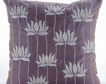 "Designer Purple Accent Pillows, 16""x16"" Silk Throw Pillows Cover, Square  Lotus Flower Embroidered Pillows Cover - Two Tone Lotus"