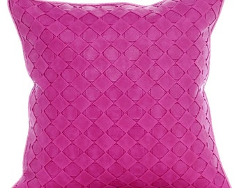 """Pink Throw Pillows Cover, 16""""x16"""" Square Faux Leather Throw Pillows Cover - Pink Leather Weave"""