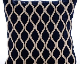 "Luxury Navy Blue Decorative Pillows Cover, 16""x16"" Cotton Linen Pillowcase, Square  Jute Lattice Trellis Throw Pillows Cover - Jute Chorus"