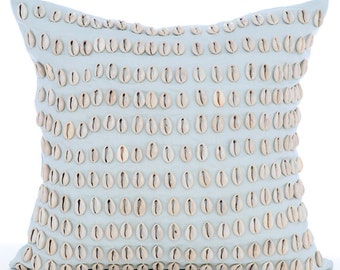"Light Blue Pillow Cases,  Square  Sea Shell Sea Creatures Ocean & Beach Theme 16""x16"" Cotton Linen Pillows Covers For Couch - Shell Shock"