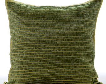 Decorative Throw Pillow Covers Accent Pillow Couch Sofa Toss Pillow 16x16 Inches Green Linen Pillow Cover Bead Embroidered Misty Green