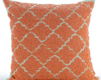 "Orange Throw Pillows Cover For Couch, 16""x16"" Square Cotton Linen Throw Pillows Cover - Orange Medallion"