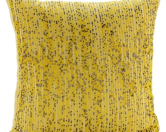 """Luxury Yellow Pillow Covers, 16""""x16"""" Cotton Linen Pillows Cover, Square  Yellow And Black Beaded Striped Pillows Cover - Yellow Karma"""