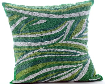 """Designer Green Throw Pillows Cover, 16""""x16"""" Silk Pillow Covers, Square  Beaded Sea Waves Pillows Cover - Moosonee Dance"""