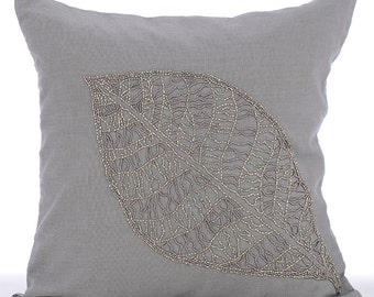 "Designer Grey Accent Pillows, 16""x16"" Cotton Linen Throw Pillows Cover, Square  Beaded Leaf Tropical Theme Pillowcases - Solitary Leaf"