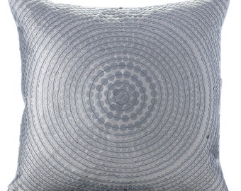 """Silver Decorative Pillows Cover, 16""""x16"""" Square Faux Leather Throw Pillows Cover - Around Silver"""