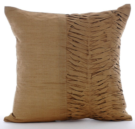 Gold Brown Throw Pillows : Designer Gold Brown Throw Pillows Cover 16x16