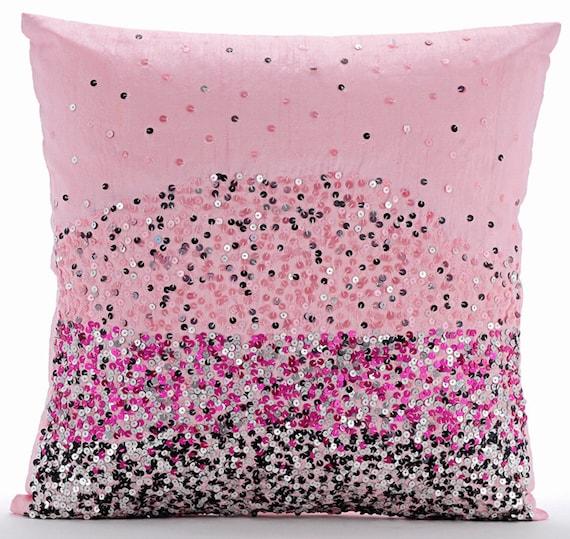Handmade Pink Pillow Covers 16x16 Silk Pillows