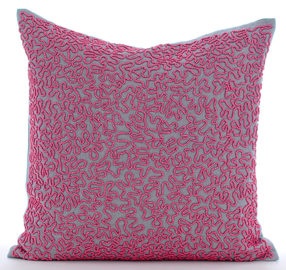 Pink Beaded Decorative Pillow : Pink Decorative Pillow Cover Square Fuchsia Pink Beaded