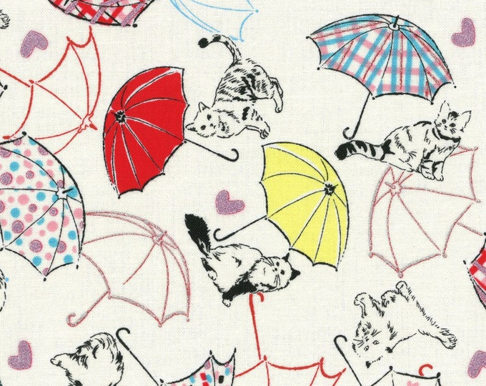 Radiant Girl Fabric by Lecien - Kitty Umbrella L49180-10 White
