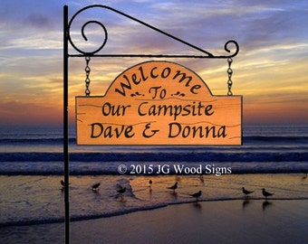 Campsite  Sign - Custom Carved RV Camping Sign - Includes Round Garden Holder Personalized Camping Sign JGWoodSigns Etsy DaveDonna