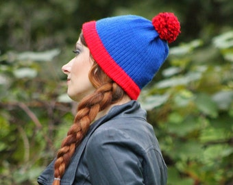 Stan Marsh  Blue and Red POm POm  Handmade Knit  Hat Costume ready to ship