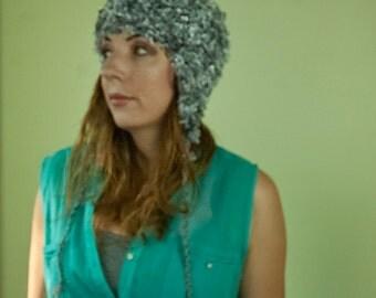 Silver Grey Soft Fuzzy EarFlap Hat